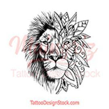 Load image into Gallery viewer, Mandala lion tattoo design high resolution download