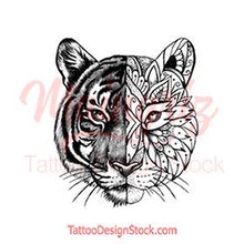 Load image into Gallery viewer, original tiger mandala half sleeve tattoo design references created by tattoo artist