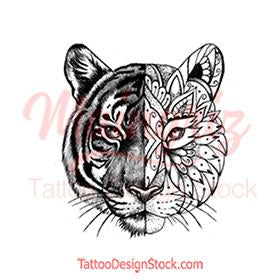 original tiger mandala half sleeve tattoo design references created by tattoo artist
