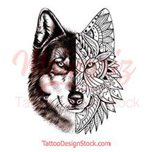 Load image into Gallery viewer, original wolf mandala half sleeve tattoo design references created by tattoo artist