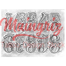 Load image into Gallery viewer, chicano numbers lettering tattoo design