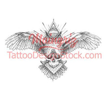 Load image into Gallery viewer, owl for chest tattoo design high quality digital download tattoo design