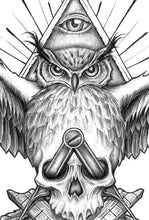 Load image into Gallery viewer, original illuminati owl and skull tattoo in instant download