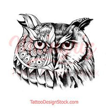 Load image into Gallery viewer, Owl mandala - tattoo design download #4