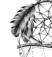 Load image into Gallery viewer, Owl dreamcatcher  tattoo desgin high resolution download