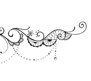 Peony and lace garter tattoo design high resolution download