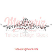 Load image into Gallery viewer, Peony and lace garter tattoo design high resolution download