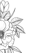 Load image into Gallery viewer, Peony half sleeve linework high resolution download