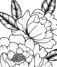 Load image into Gallery viewer, Peony half sleeve linework  tattoo design high resolution download