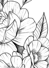 Load image into Gallery viewer, Peony linework half sleeve tattoo high resolution download