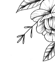 Load image into Gallery viewer, Peony linework half sleeve  - tattoo design download