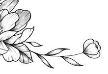Load image into Gallery viewer, Peony linework sideboob  - tattoo design