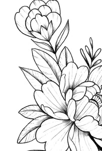 Peony linework sideboob tattoo design high resolution download
