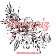 Load image into Gallery viewer, Sexy peony sideboob linework tattoo design high resolution download