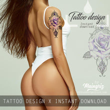 Load image into Gallery viewer, Precious stone with rose tattoo design high resolution download