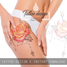 Load image into Gallery viewer, Precious stone with rose dotwork tattoo design high resolution download