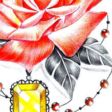 Load image into Gallery viewer, Precious stone with rose for woman tattoo design high resolution download