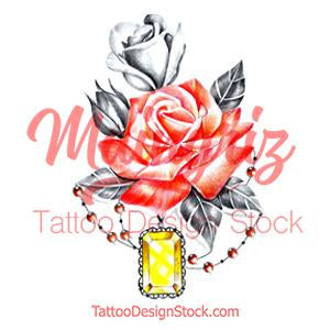 Precious stone with rose for woman tattoo design high resolution download