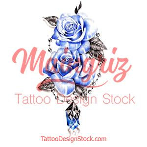 Precious stone with rose tattoo design high resolution download
