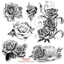 Load image into Gallery viewer, 5 realistic roses of tattoo designs in black and grey style.