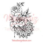 Load image into Gallery viewer, Roses pearls mandala tattoo design high resolution download