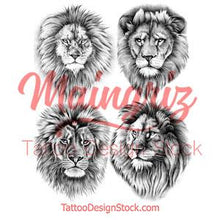 Load image into Gallery viewer, 4 x Realistic lion tattoo design high resolution download