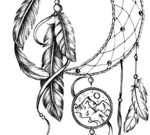 Load image into Gallery viewer, Realistic dreamcatcher tattoo desgin high resolution download