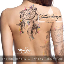 Load image into Gallery viewer, Realistic dreamcatcher watercolor tattoo high resolution download