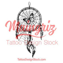 Load image into Gallery viewer, Realistic dreamcatcher with butterfly tattoo design high resolution download