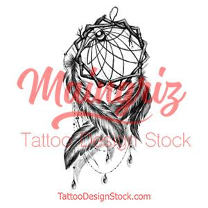 Realistic dreamcatcher with pearls and lace tattoo design high resolution download