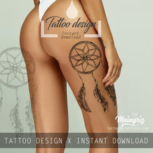 Load image into Gallery viewer, Realistic dreamcatcher with pearls  tattoo design high resolution download