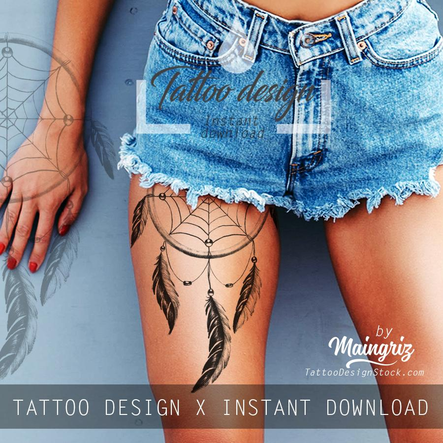 Realistic dreamcatcher with pearls - download tattoo design