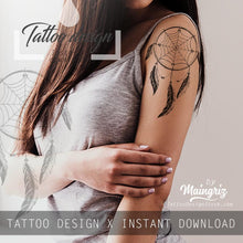 Load image into Gallery viewer, Realistic dreamcatcher with pearls - download tattoo design