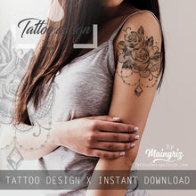 Load image into Gallery viewer, Realistic precious stone and rose with rose tattoo design high resolution download