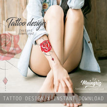 Load image into Gallery viewer, Realistic red rose and precious stone  tattoo design high resolution download