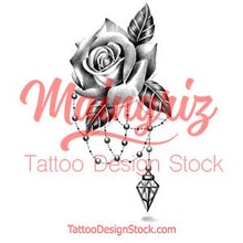 Load image into Gallery viewer, Realistic rose with diamond and lace  tattoo design high resolution download