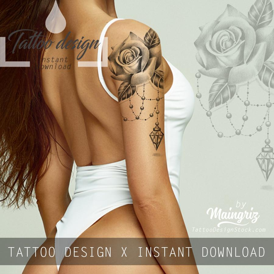 Realistic rose with diamond and lace  tattoo design high resolution download