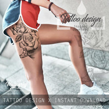 Load image into Gallery viewer, Realistic rose with diamond  tattoo design high resolution download