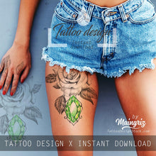 Load image into Gallery viewer, Realistic rose with emerald tattoo design high resolution download