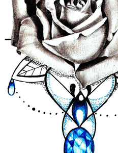Realistic rose and indigo stone tattoo design high resolution download