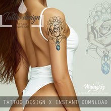 Load image into Gallery viewer, Realistic rose and indigo stone tattoo design high resolution download