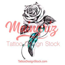 Load image into Gallery viewer, Realistic rose and precious stone with feather tattoo design high resolution download