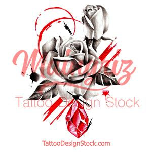 Realistic rose with rubis stone tattoo design high resolution download