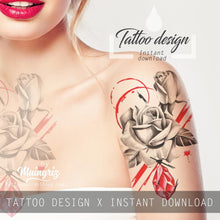 Load image into Gallery viewer, Realistic rose with rubis stone tattoo design high resolution download