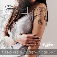 Load image into Gallery viewer, Realistic sexy dreamcatcher tattoo design high resolution download