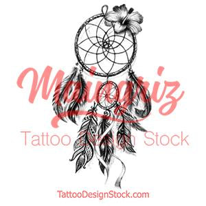 Realistic sexy dreamcatcher with flower tattoo design high resolution download