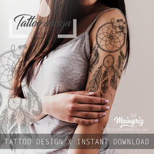 Load image into Gallery viewer, Realistic sexy dreamcatcher with flower tattoo design high resolution download