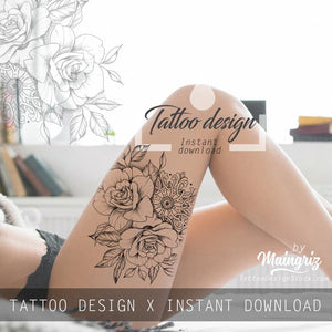 Rose linework - download tattoo design #5