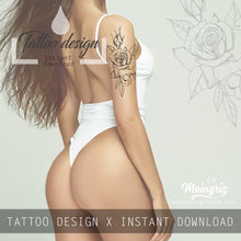 Load image into Gallery viewer, 3 x Rose linework tattoo design high resolution download