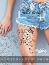 Load image into Gallery viewer, Rose with bird linework tattoo design high resolution download